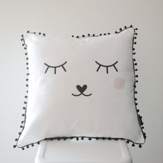 This scandinavian Sleepy Face scatter cushion is perfect for a kids bedroom. It will add that finishing touch to the room. Cushion cover size: x (Inner not included.