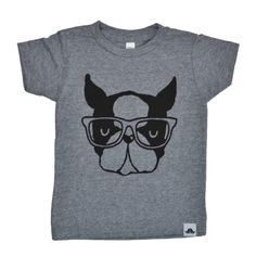 Terrance the hipster dog   gray tee - 5/6