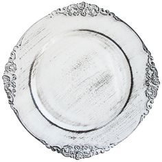 "The Jay Companies 13"" Round White Royal Antiqued Embossed Polypropylene Charger Plate"