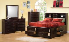 Phoenix Eastern King Bed Storage By Coaster Furniture.Coaster Furniture Phoenix Queen Storage Bed In Cappuccino . Coaster Bedroom Queen Bed Furniture Plus Inc . Phoenix Contemporary Queen Bookcase Bed With Underbed . Toilets and Bathroom Ideas King Storage Bed, Bed Frame With Storage, Under Bed Storage, Storage Beds, Extra Storage, Bedroom Storage, Storage Headboard, Bedroom Organization, Organized Bedroom