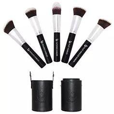 Kabuki Face Makeup Brush Set – Best 5 pc Large Face Brushes with Case for Foundation, Blush, Bronzer, Concealer, Mineral Powder Cosmetic Applicator Soft Dense Synthetic Vegan Brochas de Maquillaje Blusher Makeup, Blusher Brush, Makeup Brush Holders, Makeup Brush Set, Best Liquid Foundation Brush, Juice For Skin, Make Makeup, Makeup Tools, Makeup Supplies