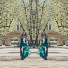 Fancy summer outfit - Green long dress with denim jacket // Saraphina.fi
