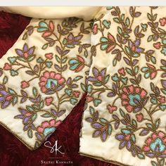 For Unstitched embroidery blouse piece . Wedding Saree Blouse Designs, Pattu Saree Blouse Designs, Blouse Designs Silk, Designer Blouse Patterns, Blouse Designs Embroidery, Embroidery Fashion, Hand Embroidery, Couture Embroidery, Embroidery Patterns
