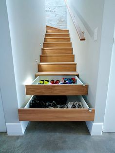 Stairs, Property, Room, Hardwood, Furniture, Floor, Interior design, Shelf, Home, House, Staircase Storage, Stair Storage, Hidden Storage, Staircase Drawers, Staircase Diy, Extra Storage, Diy Interior, Interior Stairs, Interior Design