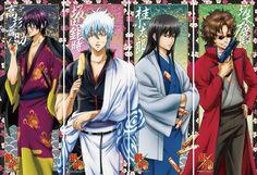 Jouishishi-Takasugi Shinsuke, Sakata Gintoki, Kotarou Katsura, and Sakamoto Tatsuma.