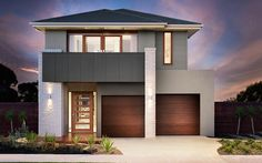 Metricon is the leading and favourite builder for new homes across the Sydney Region. If you are a first home buyer, the Salamanca home is for you. Modern House Facades, Modern House Plans, Modern House Design, Modern Architecture, Facade Design, Exterior Design, Interior Cladding, Cedar Homes, Building Facade