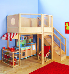 Market Place Children's Indoor Wood Play Loft this would be PERFECT for playroom. #buildachildrensplayhouse #childrensindoorplayhouse