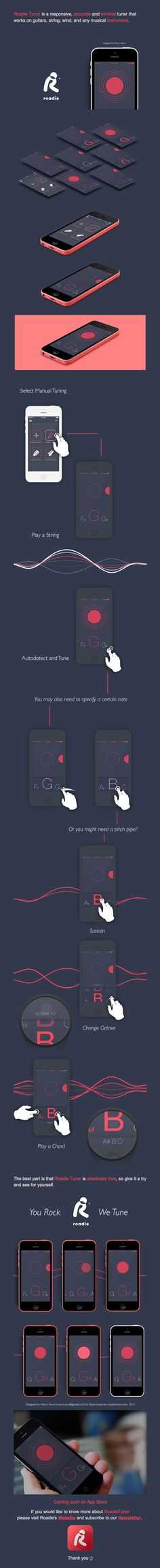 Unique App Design, Roadie Tuner via @jordanevans96 #App #Design