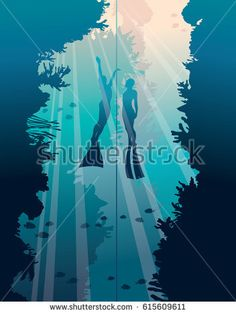 Underwater vector illustration. Silhouette of two freedivers and walls with coral reef on a blue sea. Marine life and training of free divers.