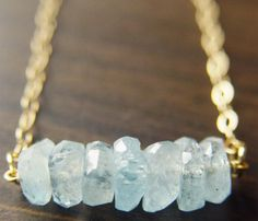 Aquamarine Necklace - Featuring beautiful pastel blue raw aquamarine nugget gemstones which were hand wired into a gold filled pendant. The pendant measures approx. wide and hangs from gold filled chain. Jewelry Box, Jewelry Accessories, Fashion Accessories, Jewelry Making, Jewlery, Fashion Jewelry, Jewellery Stand, Fall Jewelry, Bridal Accessories