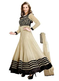 Cream And Black Border Work Anarkali Suit  http://www.angelnx.com/featuredproduct