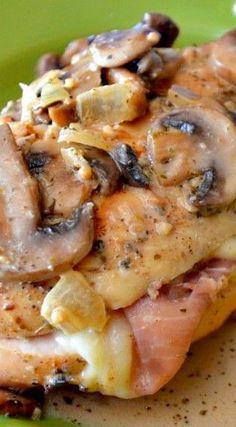 Stuffed Chicken & Creamy Mushroom Sauce Recipe ~ Outstanding!