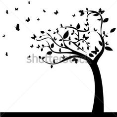Abstract Tree With Beautiful Butterflies Leaf on White Background stock vector - Clipart.me