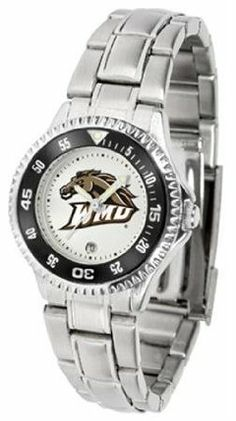 Western Michigan Broncos WMU NCAA Womens Competitor Steel Band Watch by SunTime. $79.95. Showcase the hottest design in watches today! The functional rotating bezel is color-coordinated to compliment your favorite team logo. The Competitor Steel utilizes an attractive and secure stainless steel band.. Save 21%!