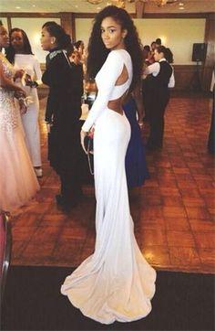 Long Mermaid Prom Dress Open Back Evening Dress