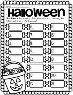 Halloween Word Puzzles (((Designed for 1st-3rd Grade ...