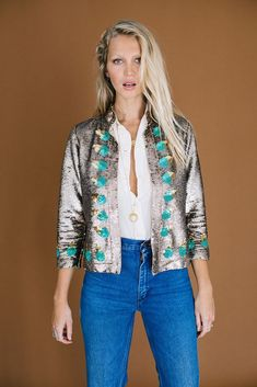 Light My Fire Sequin Jacket - Atlantis Sequin Jacket, Light My Fire, Matte Gold, Art Deco Fashion, Sequins, Glamour, Turquoise, Tees, Sweaters