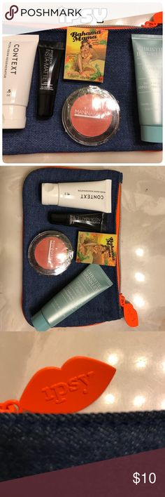 Ipsy February 2017 makeup bag Ipsy February 2017 makeup bag with 5 brand new unopened products! Includes: Christie Brinkley Complete Clarity Daily Facial Exfoliating Polish, Context Micro-derm Regenerator, Smashbox Insta-matte Lipstick Transformer, Mannakadar Beauty blush in Paradise, The Balm Bahama Mama powder bronzer. Some products came sealed, some did not, but they are all brand new, never used, never opened! Makeup bag is new, February 2017 denim bag with bright orange zipper and ipsy…
