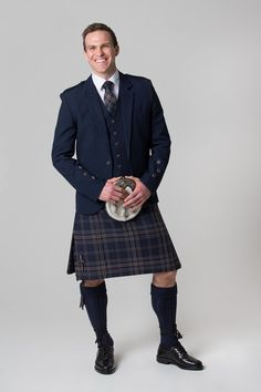Arran Navy Tweed jacket and waistcoat with our Arran Mist tartan kilt