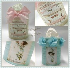 "Les Cosetes de Dudu: BOTE DE LECHE INFANTIL RECICLADO PARA GUARDAR LOS ""KLEENEX"" Easy Crafts, Crafts For Kids, Crown Decor, Tin Art, Altered Tins, Craft Room Storage, Vintage Box, Diy Organization, Shabby Chic"