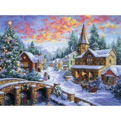 Misschien mijn volgende project? Borduurpakket van winters dorp in kerstsfeer.
