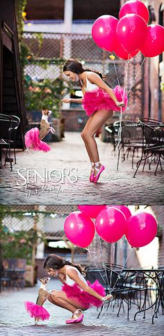 Super-fun dance senior picture idea with 2015 Miss Iowa Teen USA Aryn Book, her dog, matching tutus and balloons.