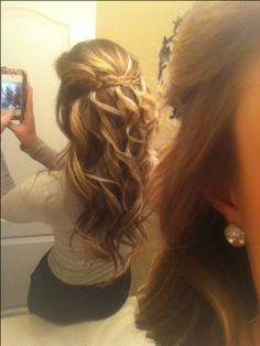 Curly hair with Braid :) This would look cute for my wedding :)