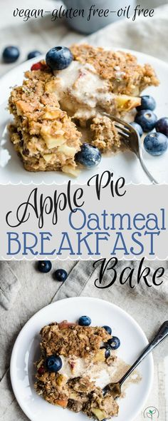 Vegan Breakfast Casserole! Apple Pie Oatmeal Breakfast Bake! Vegan recipes, healthy breakfast recipes, vegan gluten free recipes, plant based breakfast, breakfast casseroles #RecipesHealthy