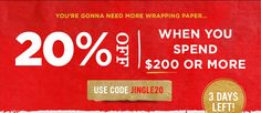 You're gonna need more wrapping paper... $50 off for every $250 you spend. Use code BEMERRY