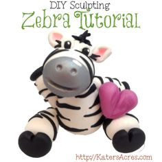 Sculpted Zebra Tutorial by KatersAcres | For Polymer Clay, Fondant, Gumpaste, Sugar Paste, & More