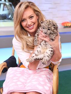 Star Tracks: Friday, June 19, 2015 | URBAN JUNGLE | Hilary Duff ups the cute factor as she meets an adorable baby snow leopard on Good Morning America in N.Y.C. on Thursday.
