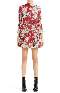 Valentino 'Enchanted' Floral Print Stretch Silk Dress available at #Nordstrom