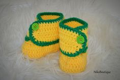 Yellow Crochet Baby Booties. by NikoBoutique on Etsy