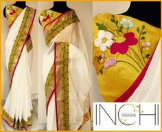 Code: Kerala sari_ Konnapoo Price: Rs. 4950Kerala sari with yellow-green embroidered border and pink piping Blouse: Yellow pure raw silk (1 metre) with floral hand embroidery  To purchase this sari  please inbox us or mail us at inchidesigns@gmail.comOnly one piece available. Once sold  we won t be able to take up custom order for the same. KeralaSari  Sari  OffwhiteSari  Vishu  VishuSari  HandEmbroidery  02 March 2017