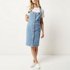 Blue denim button-up pinafore dress - dresses - sale - women