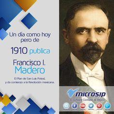 Un día como hoy 20 de noviembre pero de 1910 Francisco I. Madero, al publicar el Plan de San Luis Potosí, da comienzo a la Revolución mexicana.
