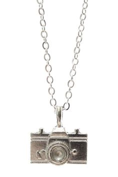 Jami Rodriguez Long Silver Camera Necklace