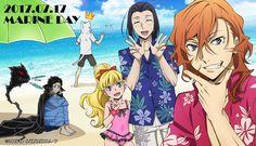 Port Mafia at the beach! +Atsushi and a drowning Dazai Dazai Bungou Stray Dogs, Stray Dogs Anime, Marine Day, Bungou Stray Dogs Characters, Dog Tumblr, Dazai Osamu, Dog Beach, 30 Day Challenge, Manga Anime
