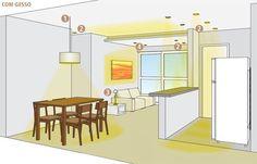 Como fazer uma boa iluminação em ambientes com e sem forro de gesso - Casa