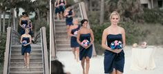 The bridesmaids walking down to the beach for their bride to be!