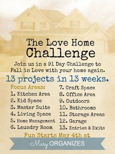 This looks GREAT!! The Love Your Home Challenge - Focus Areas