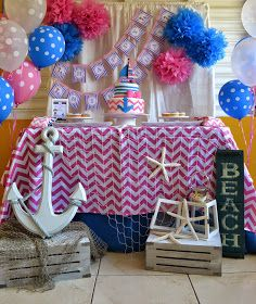 Pink & Blue Nautical Girl Party - Birthday Party Ideas for Kids and Adults Pink Birthday, Baby First Birthday, First Birthday Parties, Birthday Party Decorations, Baby Shower Decorations, Birthday Ideas, Birthday Cake, Party Ballons, Nautical Party