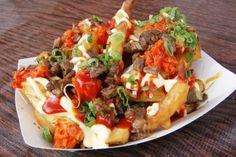 mix of fries, kimchee, bulgogi beef, and kewpie mayo