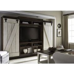 Shop for Lancaster Weathered Bark and White Entertainment Center with Piers. Get free shipping at Overstock.com - Your Online Furniture Outlet Store! Get 5% in rewards with Club O! - 18344616