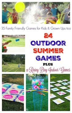 "35 Family Friendly Games for Kids & Grown Ups Parents, you can stop that ""I'm bored"" talk with our list of 35 Family Friendly Games for summer. 24 Outdoor summer games and 11 rainy day games for indoors Indoor Games For Kids, Outdoor Activities For Kids, Outdoor Games, Summer Activities, Picnic Games For Kids, Outdoor Toys, Family Picnic Games, Outdoor Fun For Kids, Outdoor Parties"