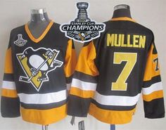 Penguins #7 Joe Mullen Black CCM Throwback 2017 Stanley Cup Finals Champions Stitched NHL Jersey