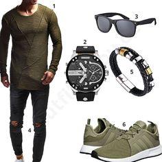 Schwarz-Olives Herren-Outfit mit XXL-Uhr (m0363) #outfit #style #fashion #inspiration #womenswear #womensoutfit #womenwear #womensstyle #damenmode #frauenmode #mode #styling #schuhe #sneaker #dress #summerstyle