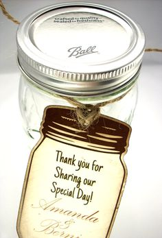 Favor Tags  20 Mason Jar Wedding Favor Tags by Scrappingoodtimes, $7.00  #vintage #rustic #diy