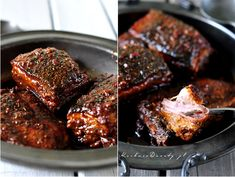 Żeberka w Miodzie Duszone – idealne – Kuchnia Doroty Iron Pan, Steak, Pork, Beef, Drinks, Malt Beer, Kale Stir Fry, Meat, Drinking