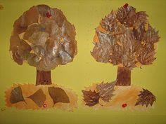 Podzimní stromy s vylisovanými listy